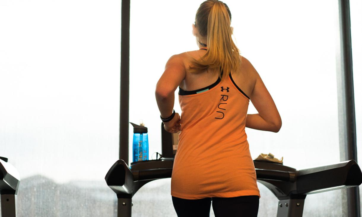 NAU student running on a treadmill.
