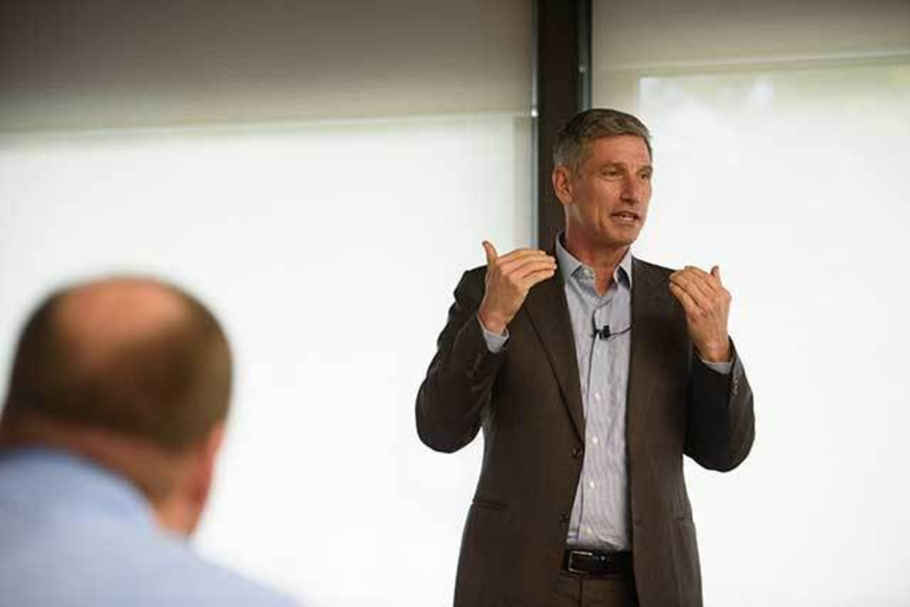 Chancellor Dan Greenstein speaking at IUP in 2019