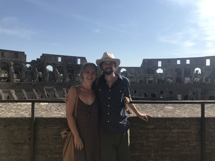 Eli Pittman and his girlfriend Callie insisde the Colosseum in Rome