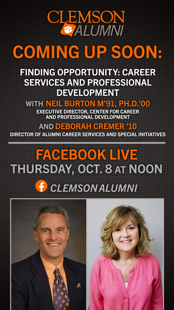 Finding Opportunity: Career Services and Professional Development Facebook Live Thursday, Oct. 8 at Noon with Neil Burton and Deborah Cremer