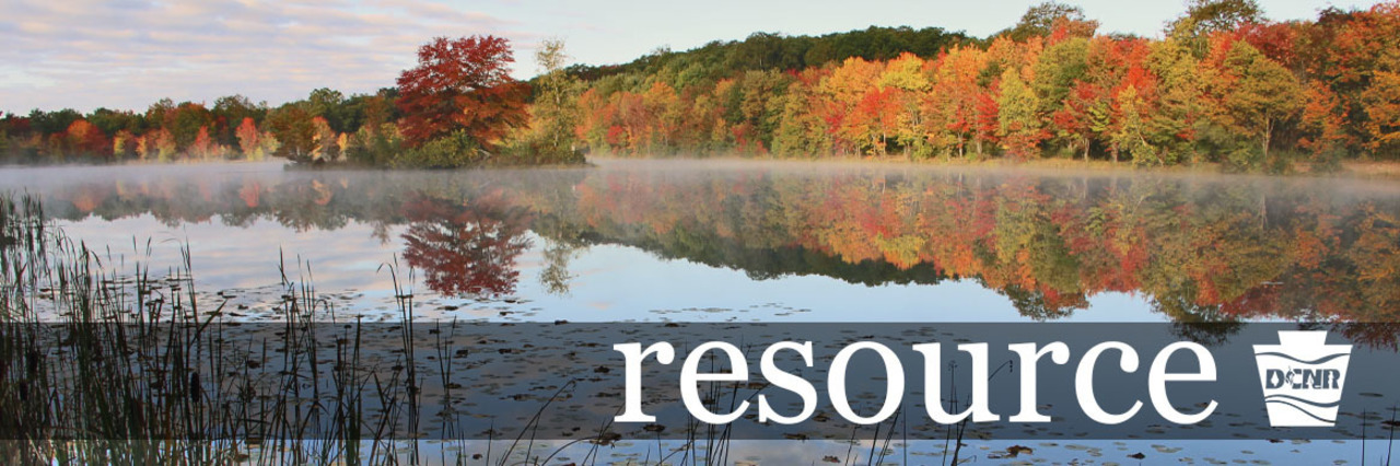 resource header image: Mist hangs over a lake with bright fall foliage reflected on the water from the shore