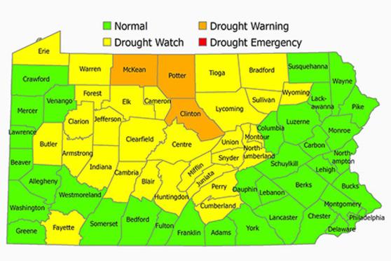 County map of Pennsylvania
