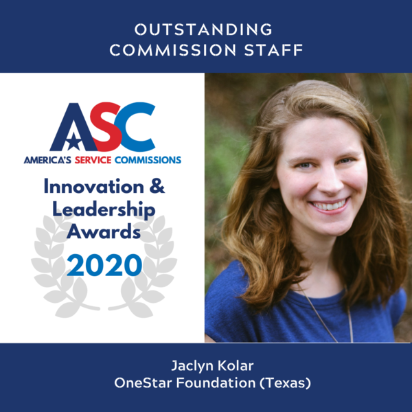 Jaclyn Kolar, Outstanding Commission Staff, ASC Innovation & Leadership Awards 2020