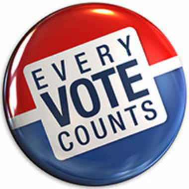 Voting promotional button that says every vote counts