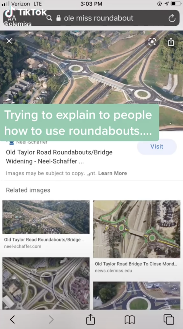 TikTok Screenshot of an areal view of the roundabouts