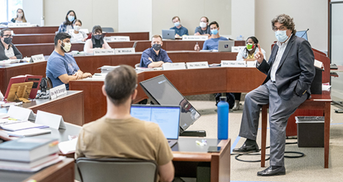 Chancellor Emeritus Nicholas S. Zeppos, pictured here teaching Civil Procedure, returned to his teaching position at the law school in fall 2020.