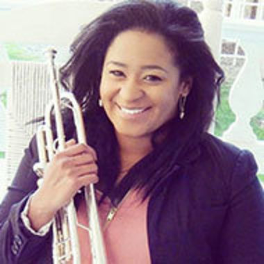 Sadie Spencer '16 posed with her trumpet