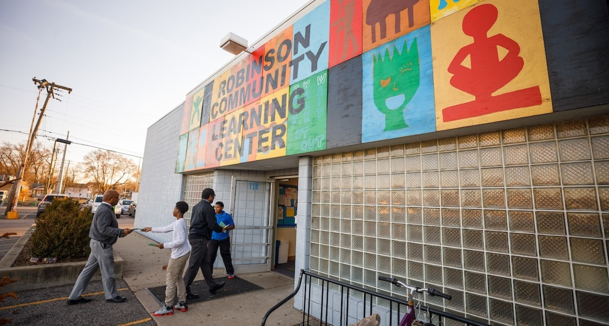 Exterior of the former Robinson Community Learning Center is pictured.