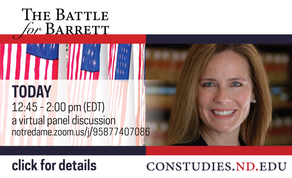 Photo of Amy Coney Barrett and graphic saying the virtual event is today at 12:45 p.m.. Click for details.