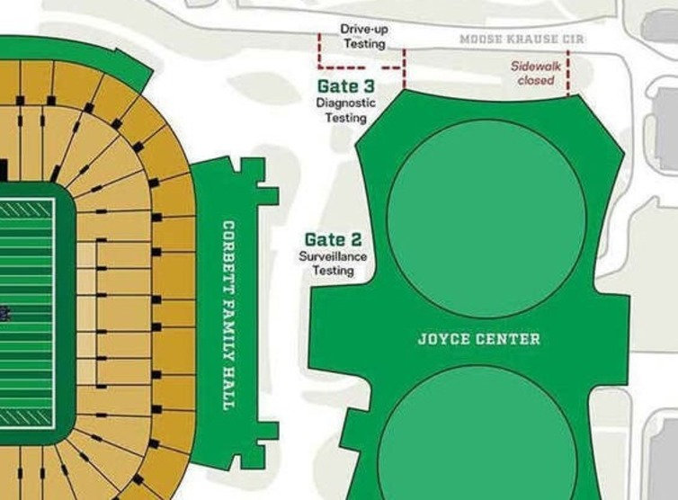 Map of new testing site at the Joyce.