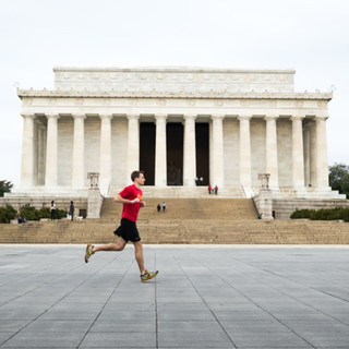 Person Running at Lincoln Memorial