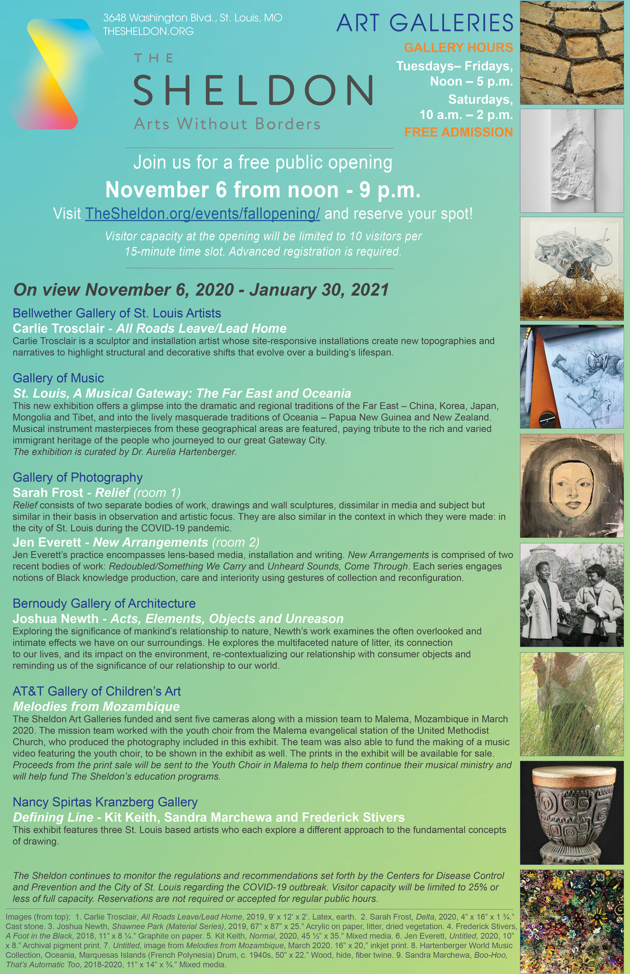 Join the Sheldon Art Galleries for a free public gallery opening on November 6, noon - 9 p.m. Visit The Sheldon.org/events/fallopening and reserve your spot!