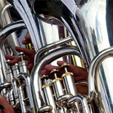 Closeup of tuba valves being played