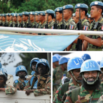 A collage of three images featureing UN Peacekeepers