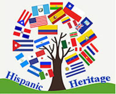 Hispanic Heritage logo with trees made of flags