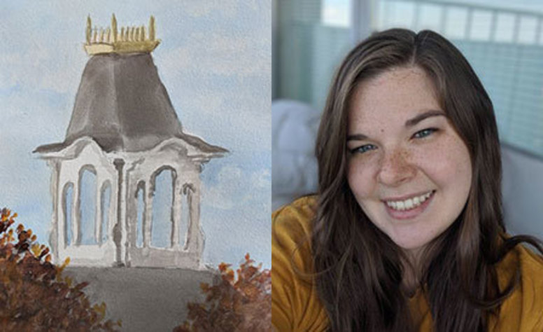 Sutton Hall bell tower painting and Jenna Caroff photo