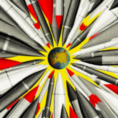 illustration of nuclear images pointed at the globe