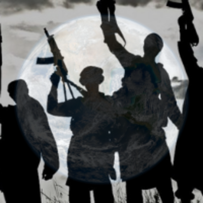 Image of armed men overlayed on an image of the globe