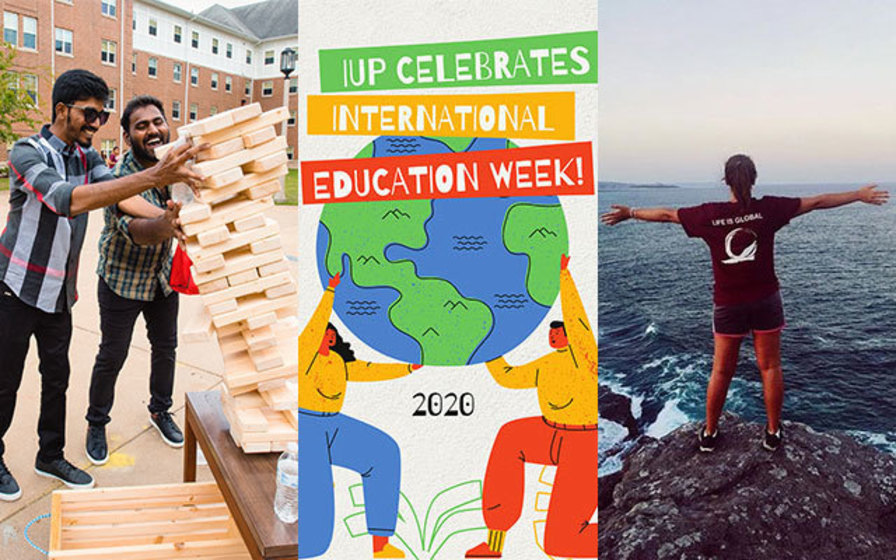 Left to right, international students playing Giant Jenga, International Education Week logo with globe, and student standing on rock overlooking ocean