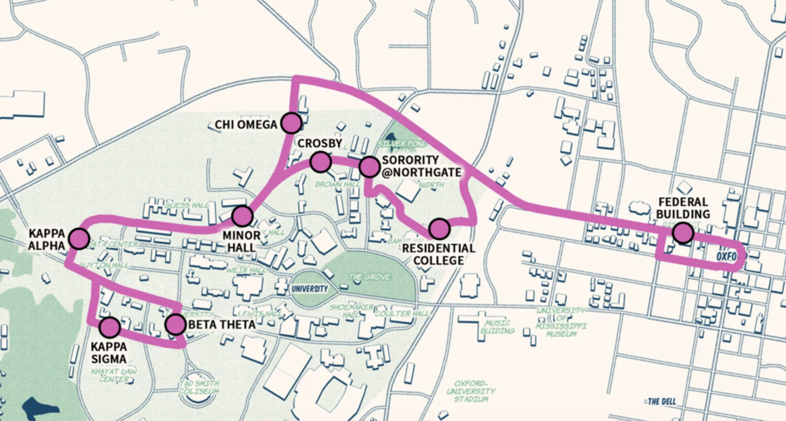 The Safe Ride program map of route