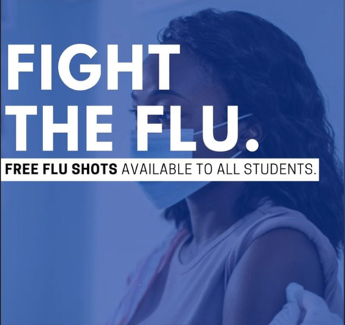 Blue overlay on a student receiving a flu shot. Text on graphic says fight the flu, free flu shots available to all students