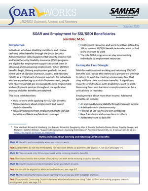 SOAR and Employment for SSI/SSDI Beneficiaries