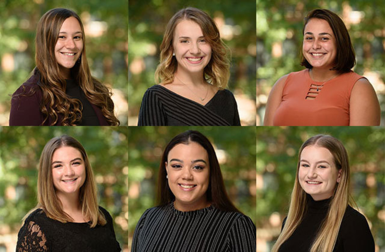 Combined head shots of Hannah Wood, Jillian Black, Mikayla Dokos, Madison Frederick, Sydney Hicks, and Emily Kostelnik