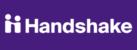 purple rectangle, with white people icon and white text: Handshake
