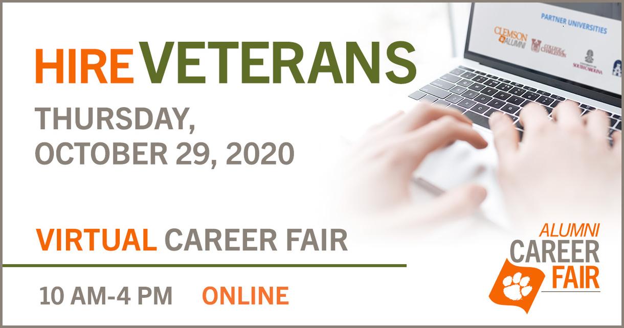 HireVETERANS Thursday, October 29, 2020 Virtual Career Fair 10am-4pm