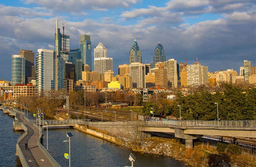 Sunlit view of downtown Philadelphia