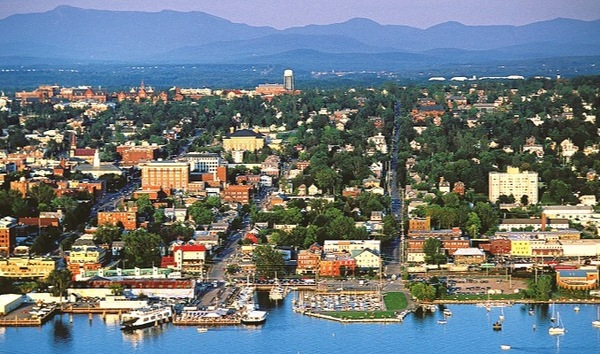 Aerial view of Burlington, Vermont and the mountains