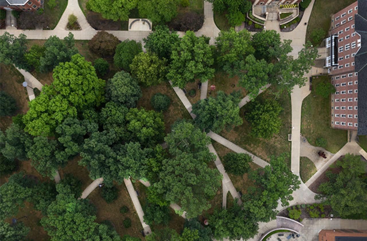 Aerial view of IUP Oak Grove