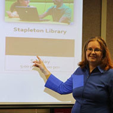 Dana Driscoll giving a presentation