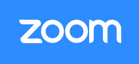 White word 'zoom' on a blue background