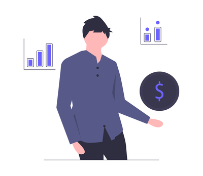 Illustraion of man in purple shirt holding a dollar sign surrounded by bar graphs