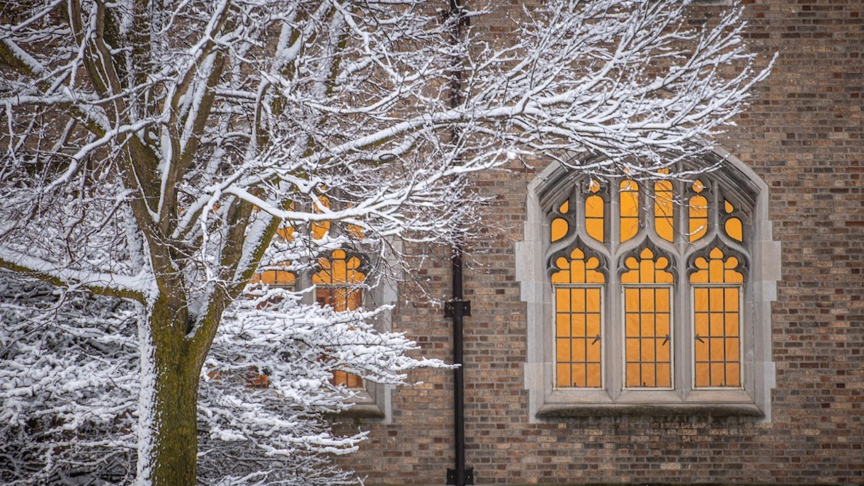 Scenic photo of Biolchini Hall of Law after a snowfall.