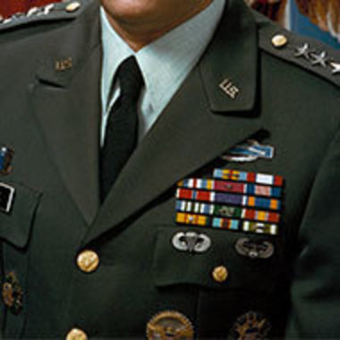 Closeup of heavily decorated military uniform