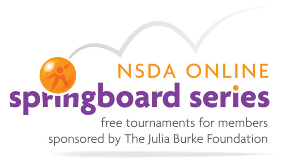 a photo of a laptop and the logo for the NSDA Online Springboard Series