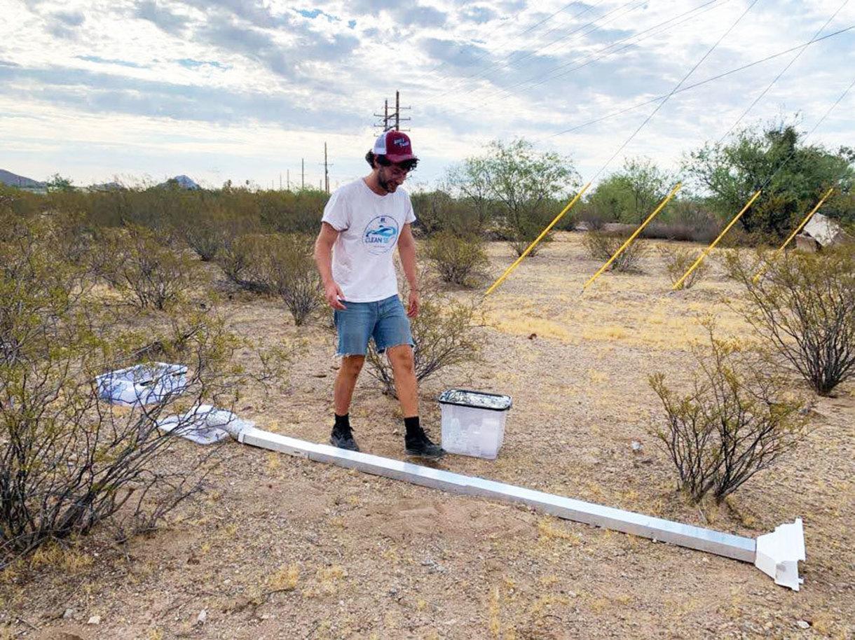 Postdoctoral researcher Gabriele Schiro conducting field research