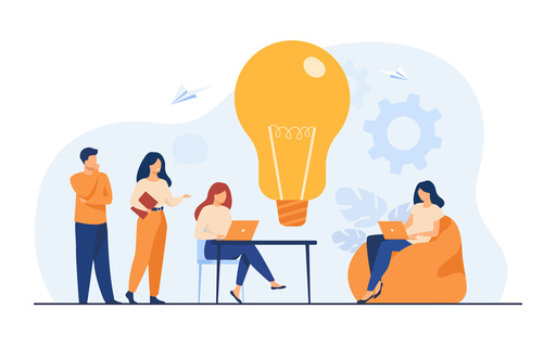 Vector image of team meeting in a co-working space, two people are seated with latptops, two are standing and sharing ideas.