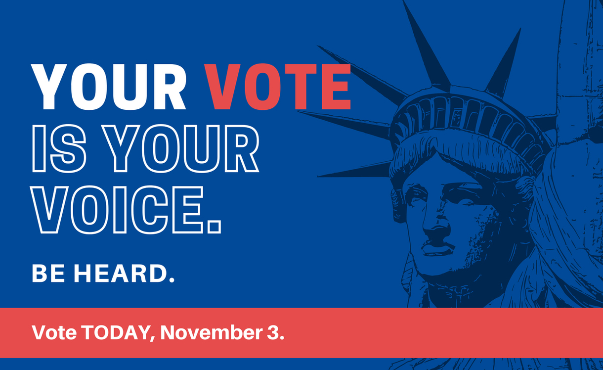 Graphic says your vote is your voice. Be heard. Vote today. Click to find out where to vote.