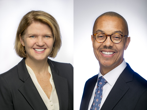 A dual portrait of Mary Pat McMahon (left), and Gary Bennett (right) on a white and gray background.