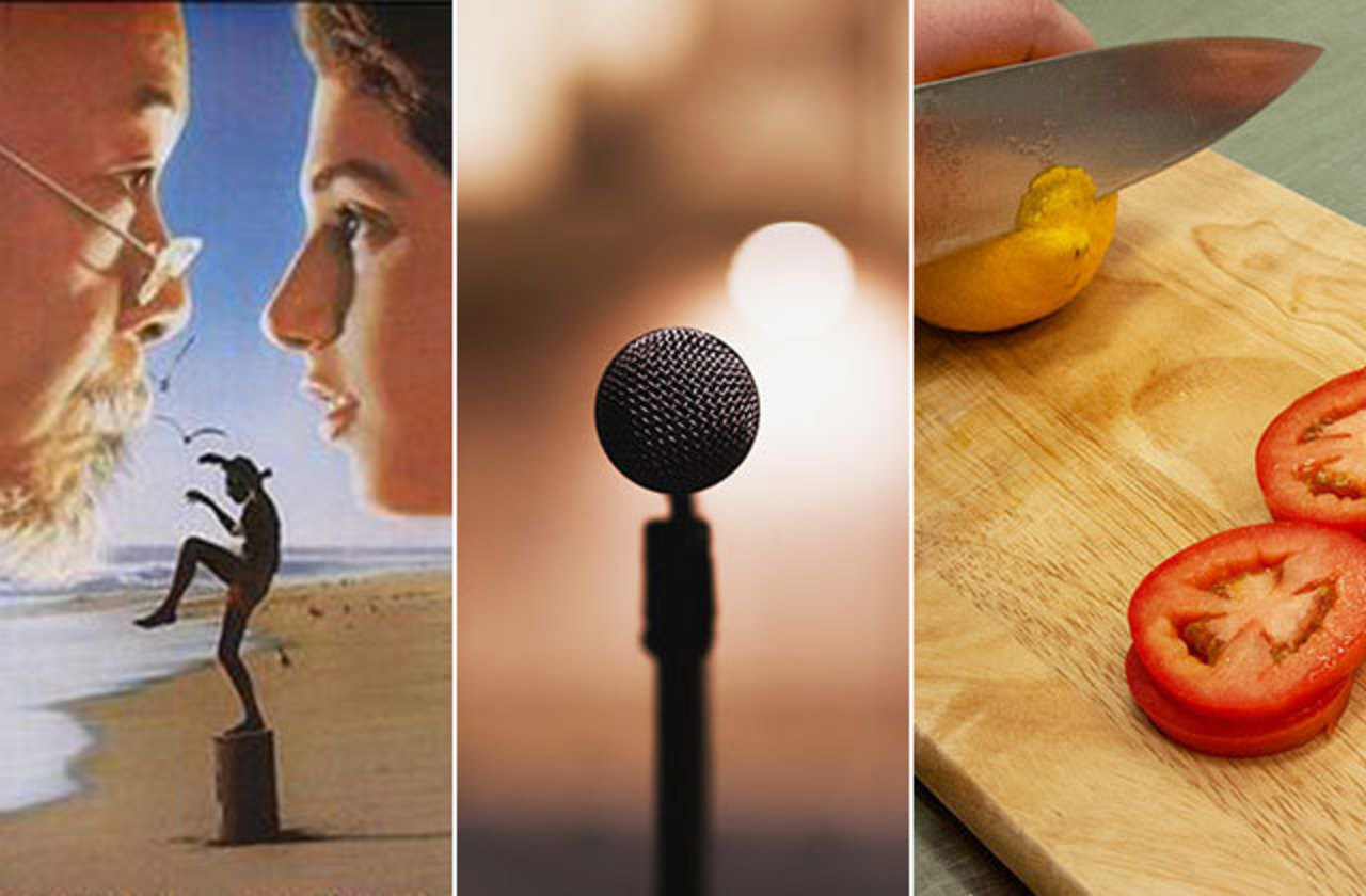 Left to right: Images of Karate Kid poster, microphone, and chopping vegetables
