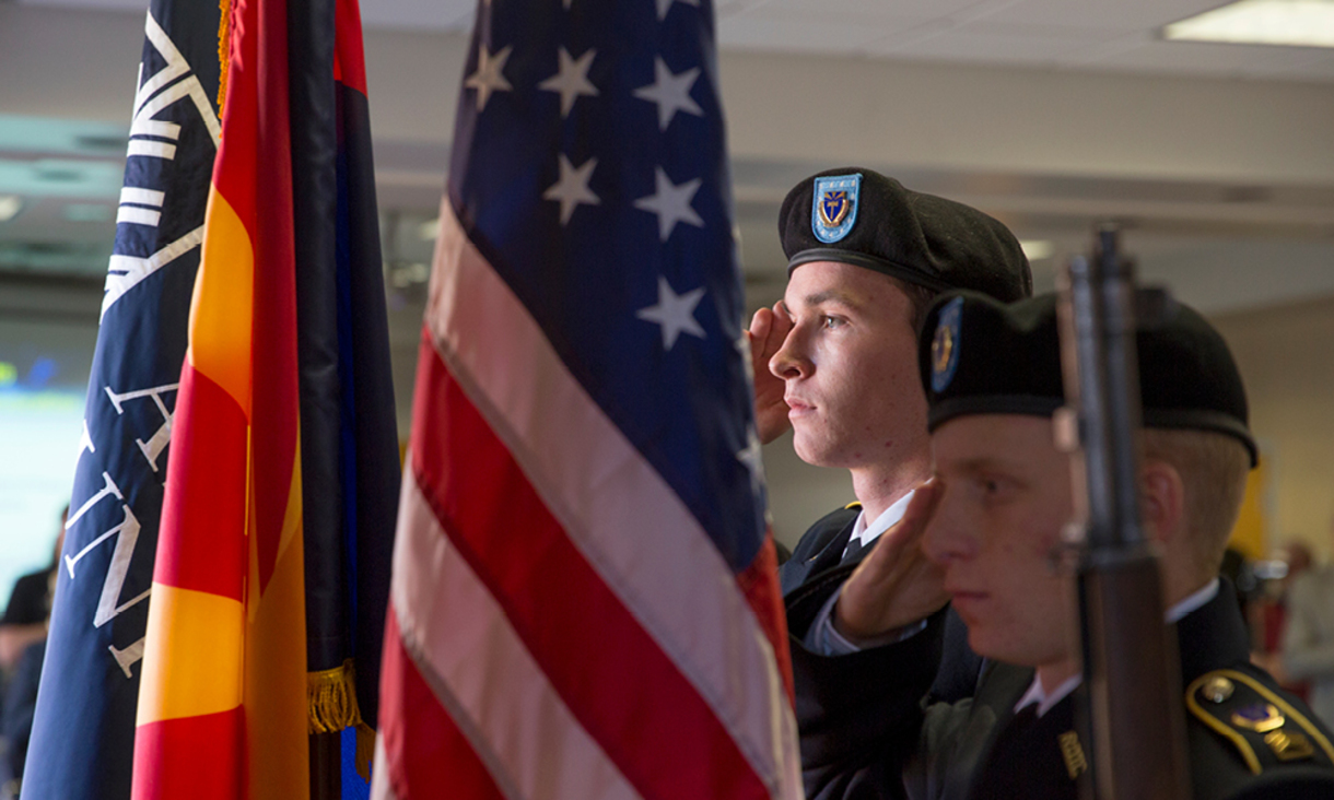 NAU AFROTC Color Guard saluting during the Veteran Flag Tribute ceremony.