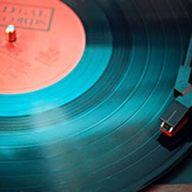 Closeup of record on a turntable