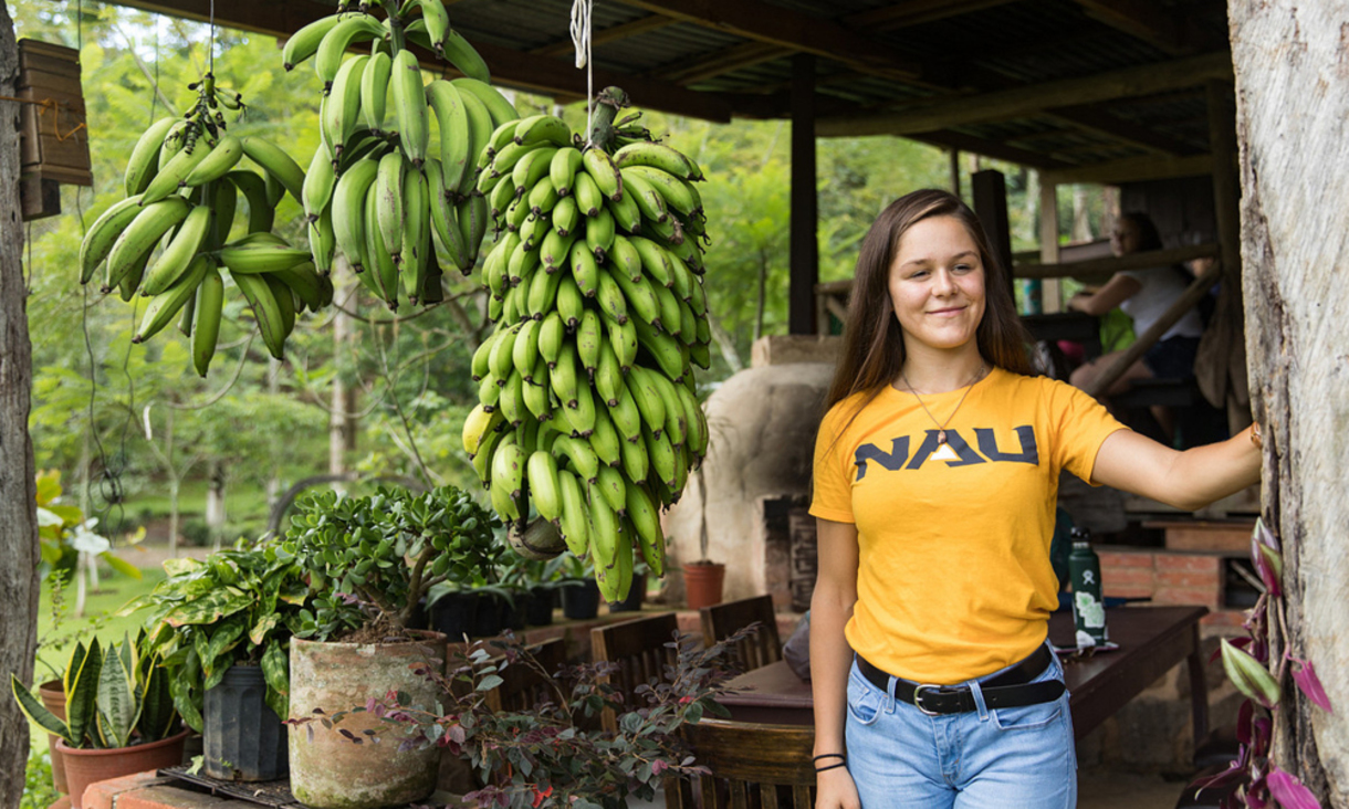 NAU student wearing a gold NAU tshirt smiling for the camera while standing next to a bunch of Costa Rican bananas.