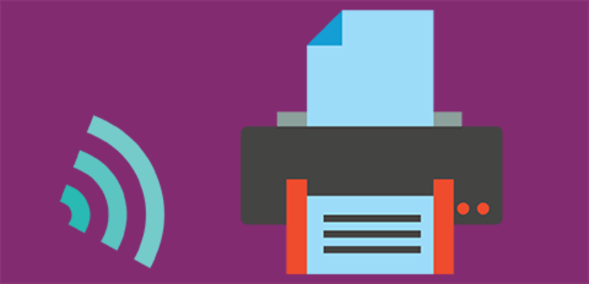 Web icon and printer, link to mobile printing service