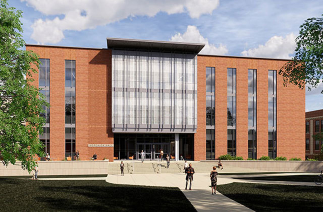 Architect rendering of the front of the future Kopchick Hall