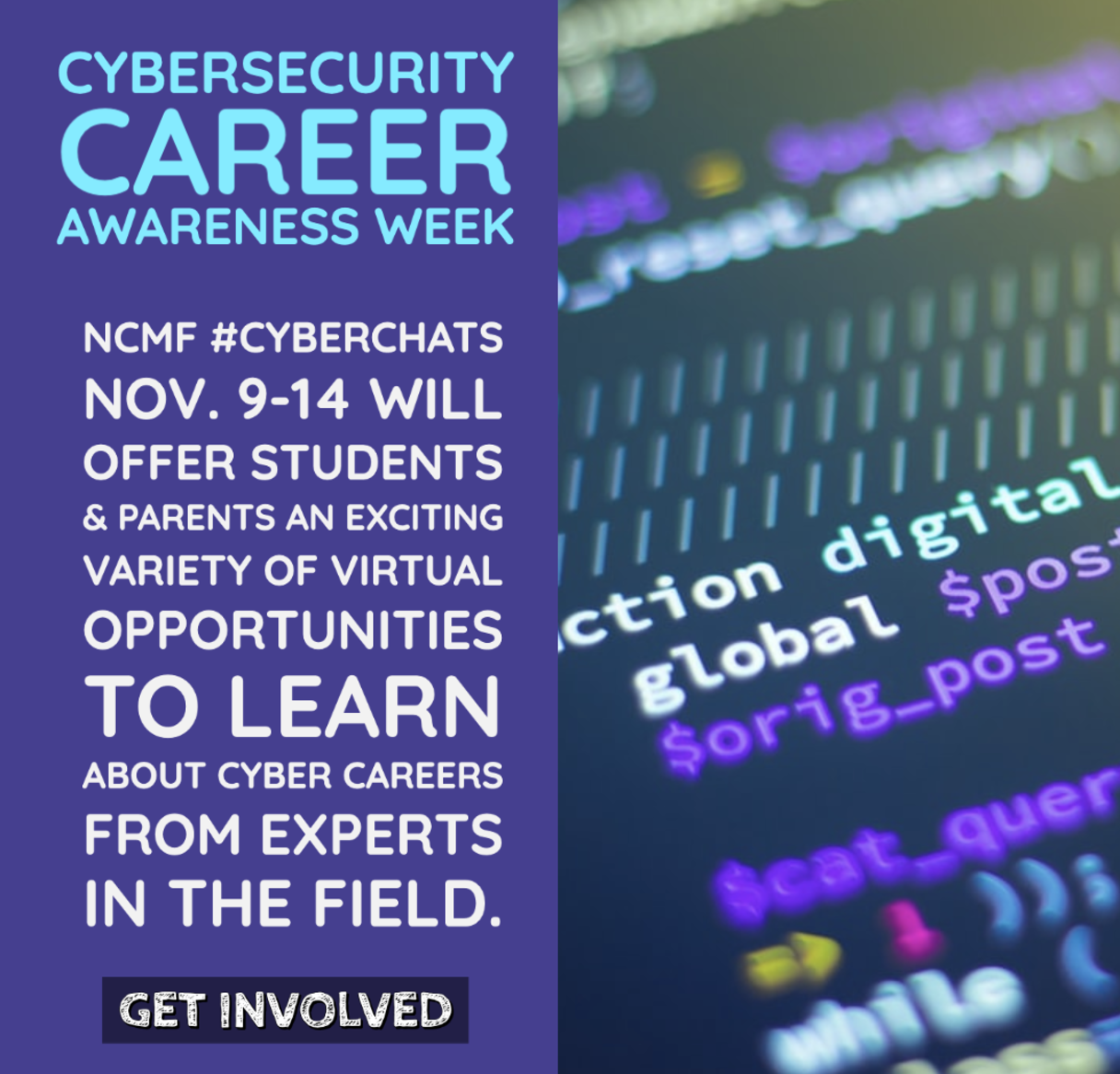 Join us for Cybersecurity Career Week #CyberChats - Nov. 9-13