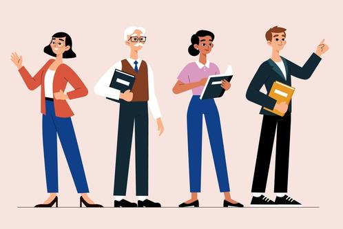 Vector illustration. Four teachers of varying ages stand together. Three hold books.